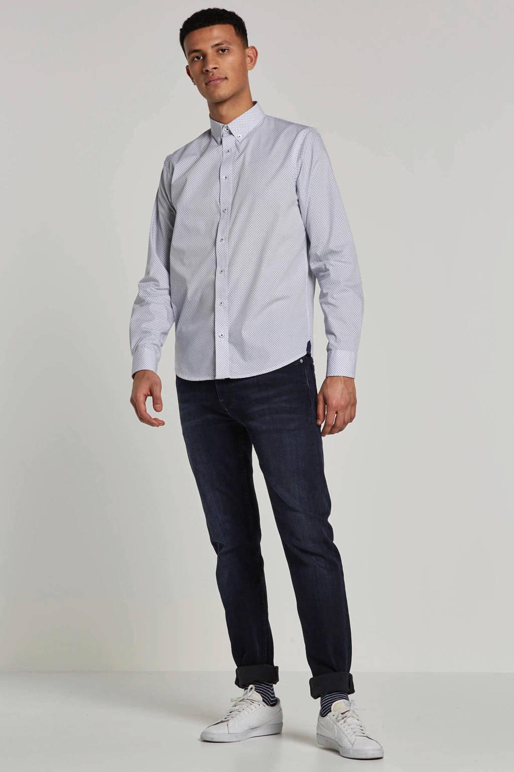Haze & Finn overhemd, Wit/blauw