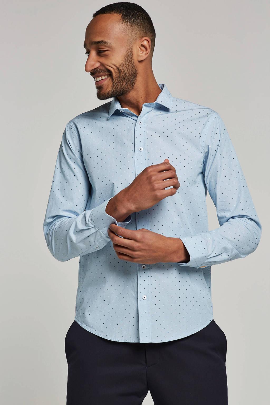 Haze & Finn slim fit overhemd, Lichtblauw