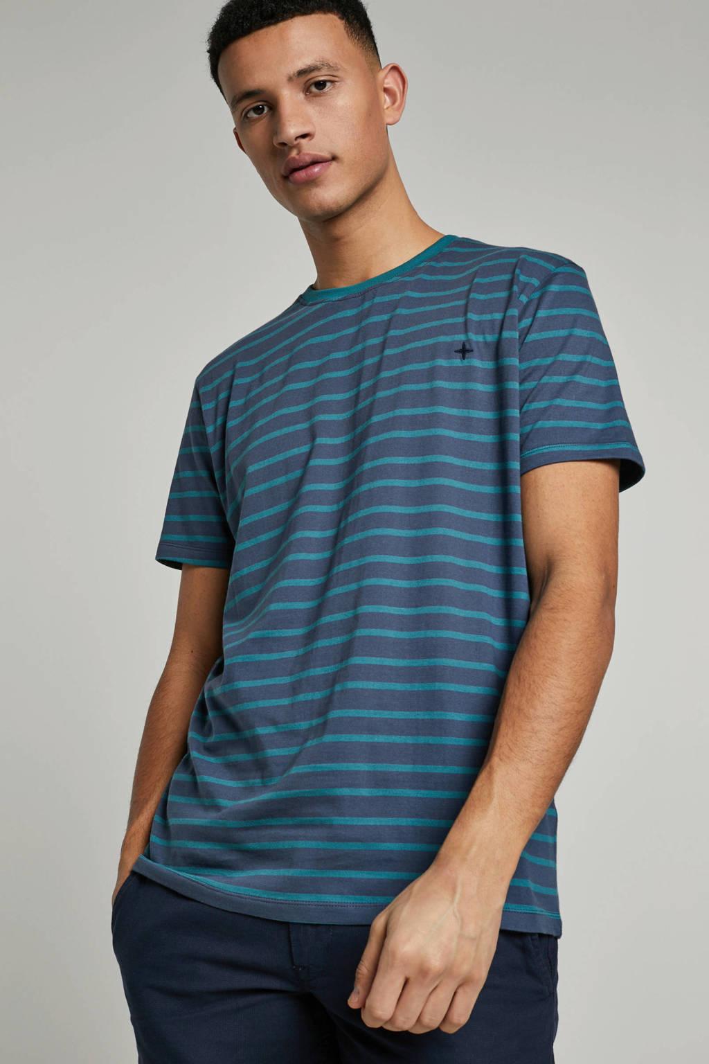 Haze & Finn T-shirt, Donkerblauw/groen