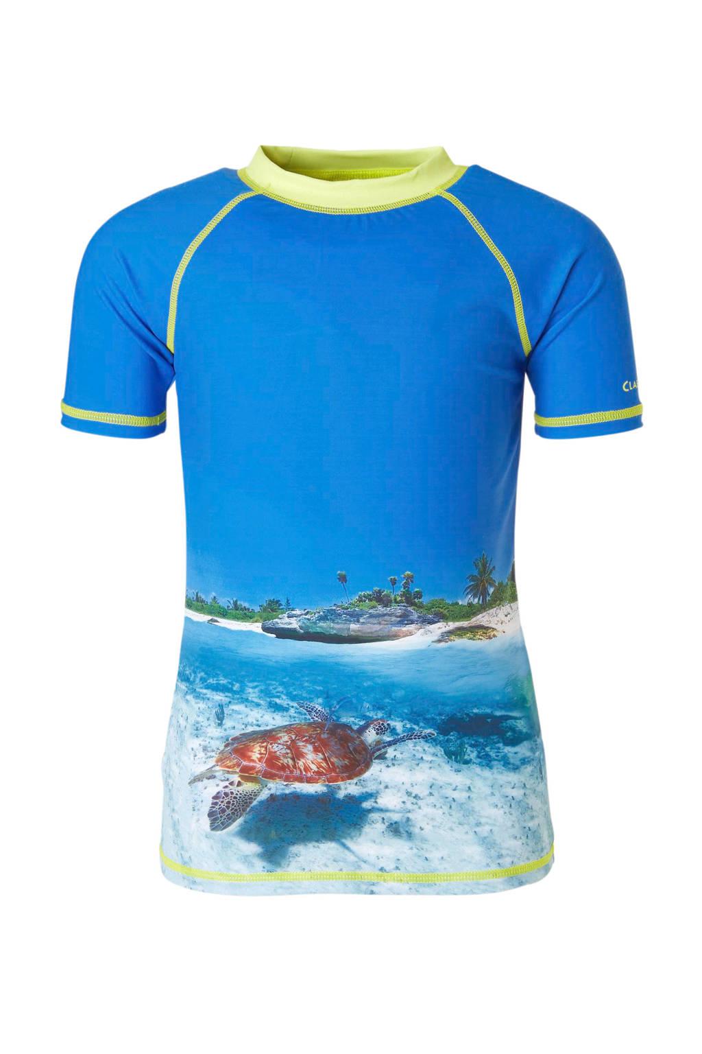 Claesen's UV T-shirt met all-over print blauw, Blauw/geel