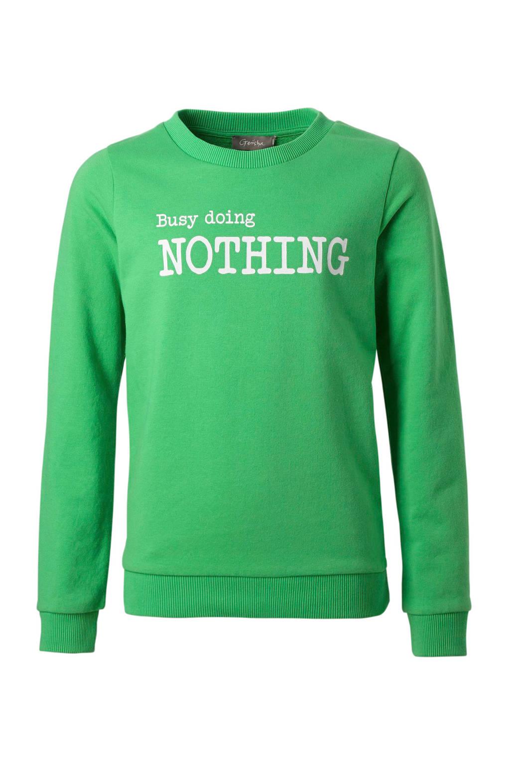 Geisha sweater met tekst groen, Groen