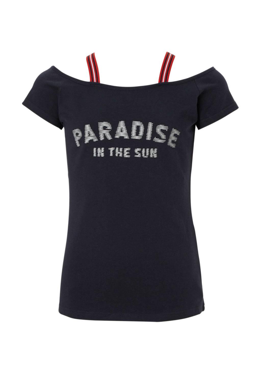 Geisha T-shirt met tekst en bandjes donkerblauw, Donkerblauw/rood