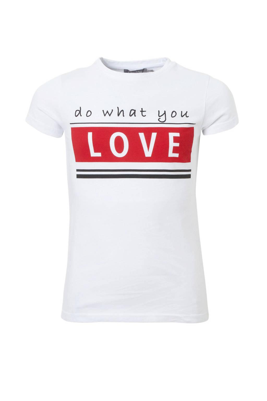 Geisha T-shirt met tekstprint wit, Wit/rood
