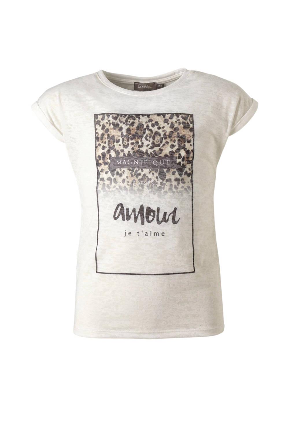 Geisha T-shirt met print wit, Wit