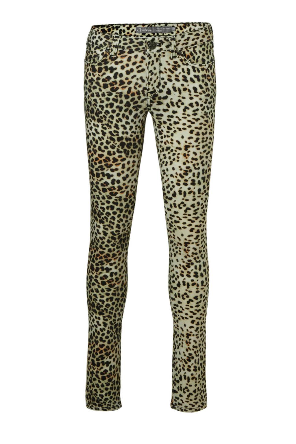 Geisha skinny fit broek met panterprint zwart, Zwart/lichtbruin