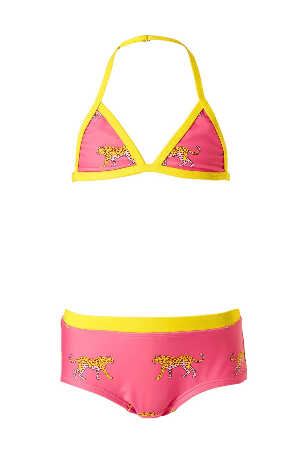 Claesen's bikini met print roze, Roze/geel