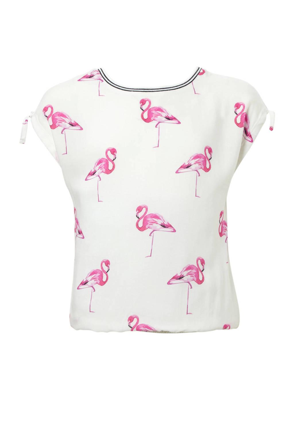 Geisha top met allover flamingo dessin wit, Wit/roze