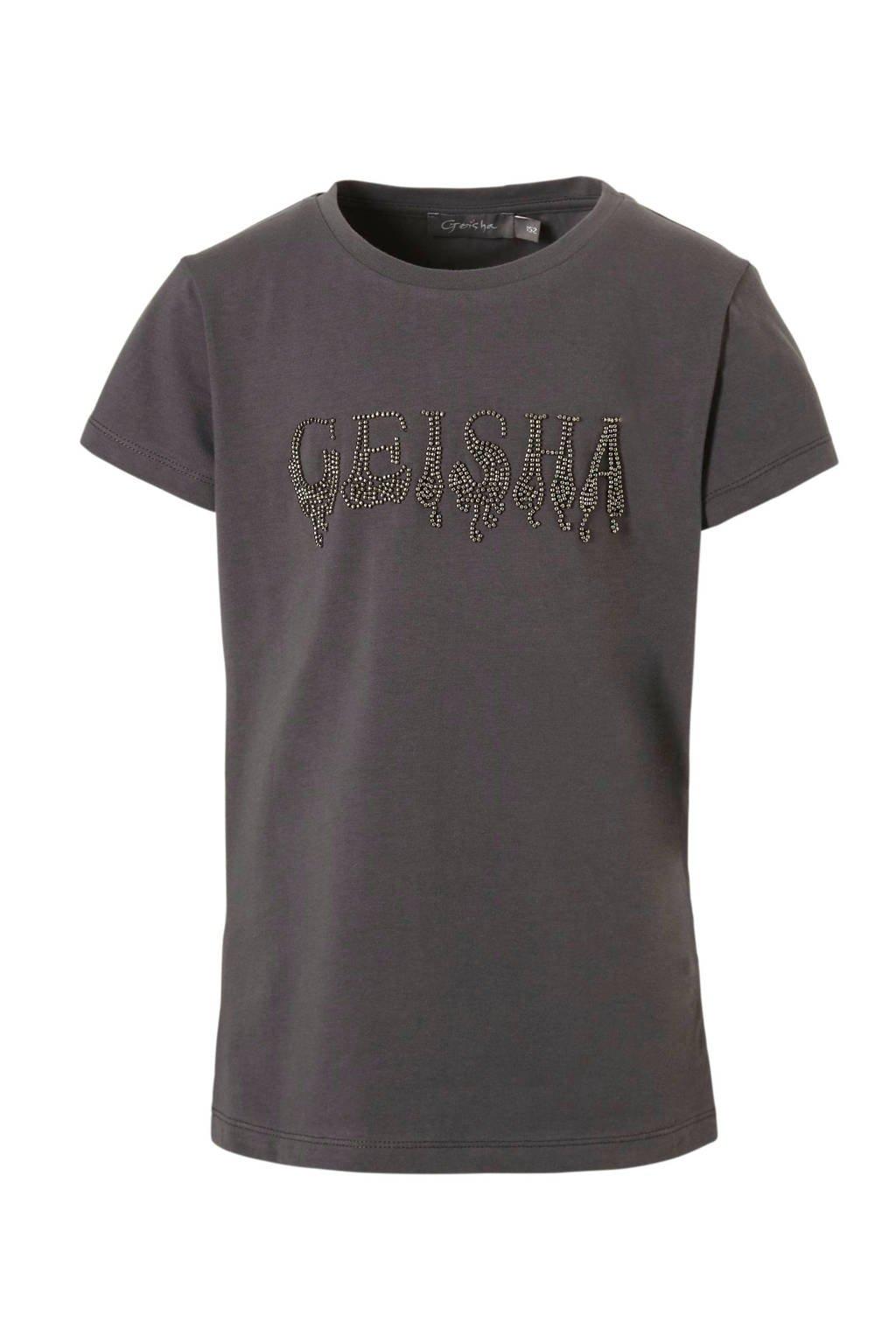 Geisha T-shirt met kraaltjes tekst grijs, Antraciet