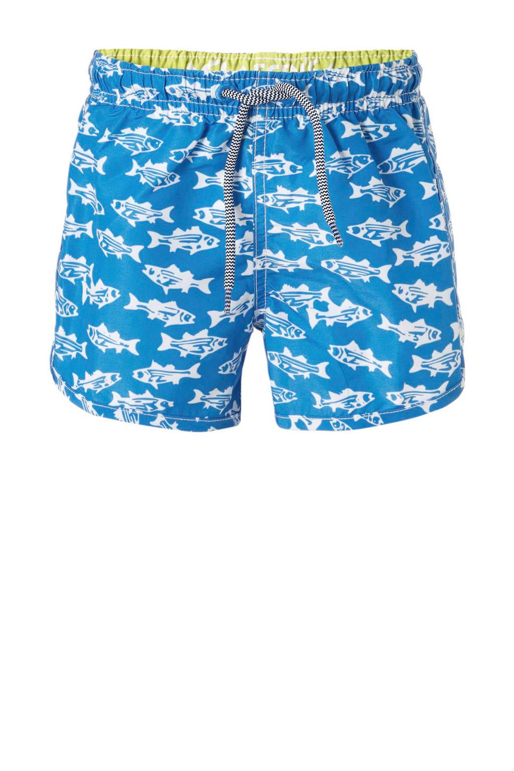 Claesen's zwemshort met vissen blauw, Lichtblauw/wit