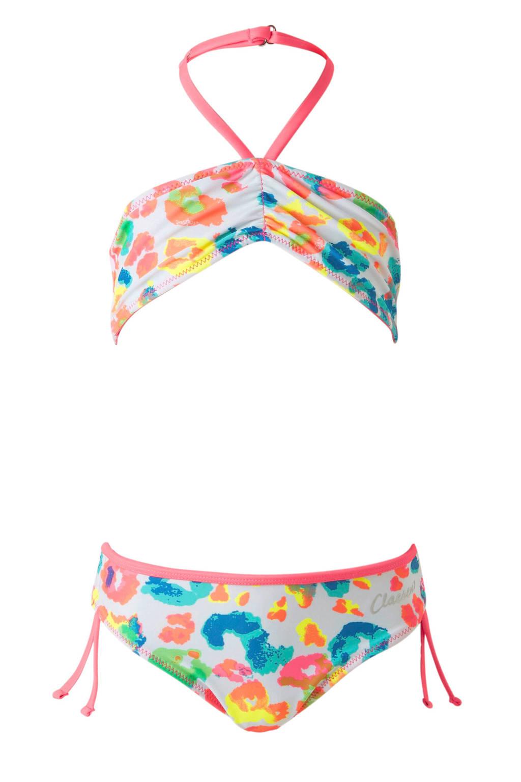 Claesen's reversible bikini met all-over print, Wit/roze/blauw