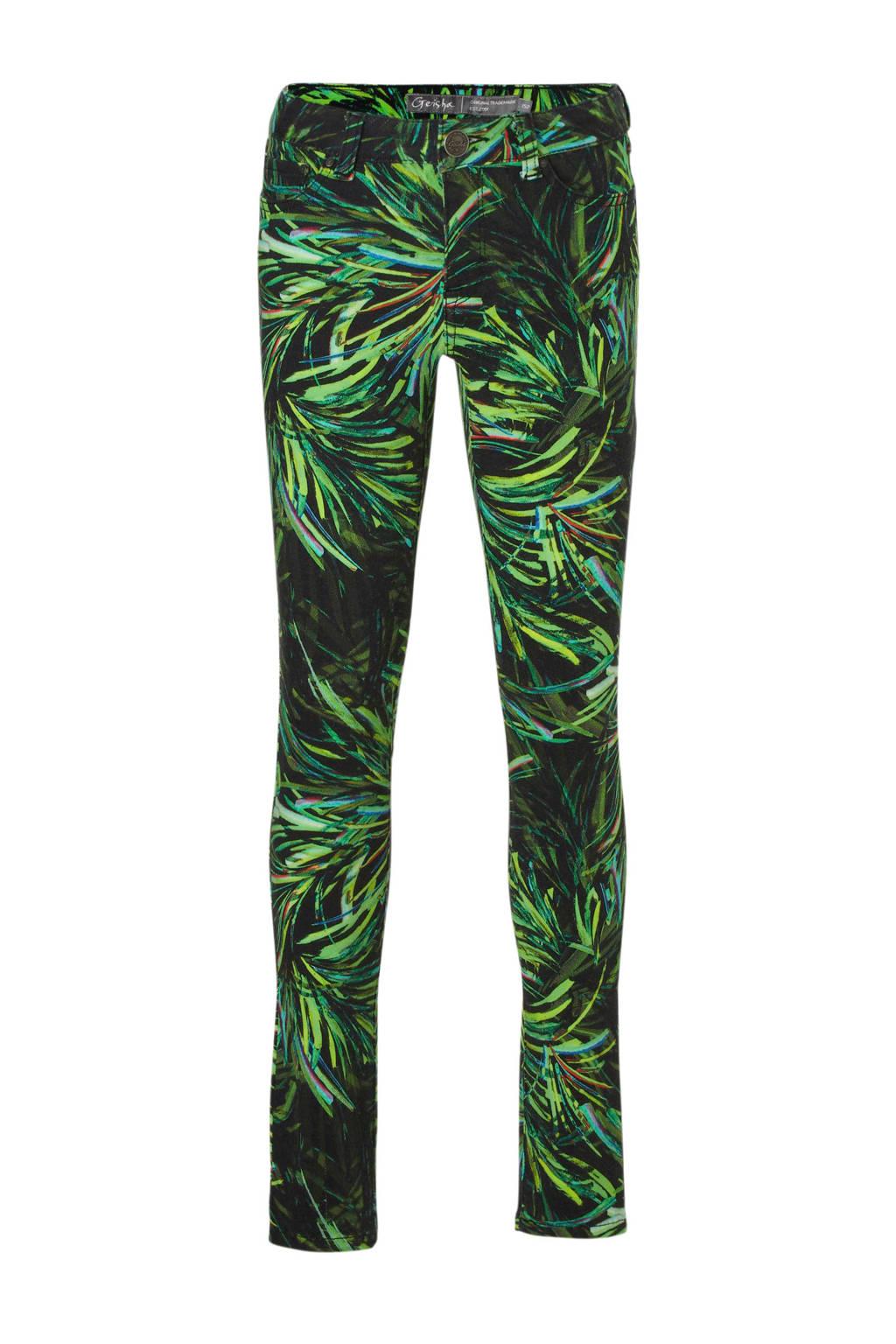 Geisha skinny fit broek met bladdessin zwart, Groen/zwart