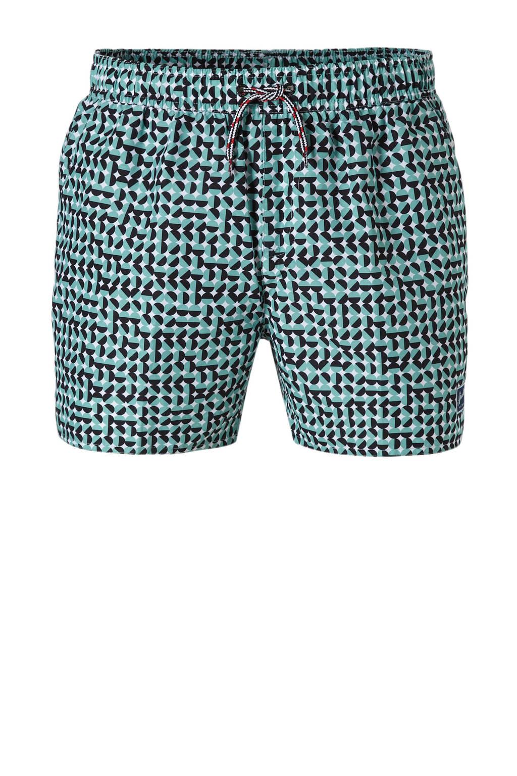 Speedo zwemshort met all-over print groen, Groen/zwart/wit