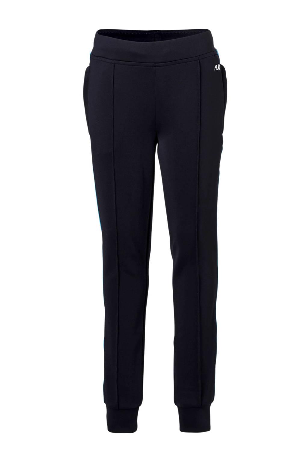 NIK&NIK broek met zijstreep donkerblauw, Donkerblauw/blauw