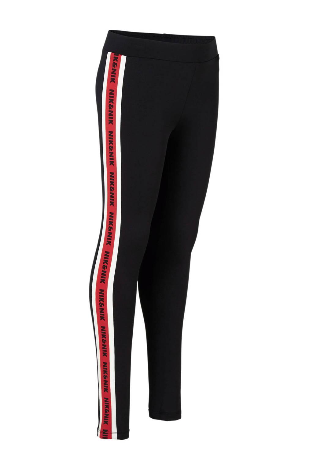NIK&NIK legging Feya zwart, Zwart/rood/offwhite