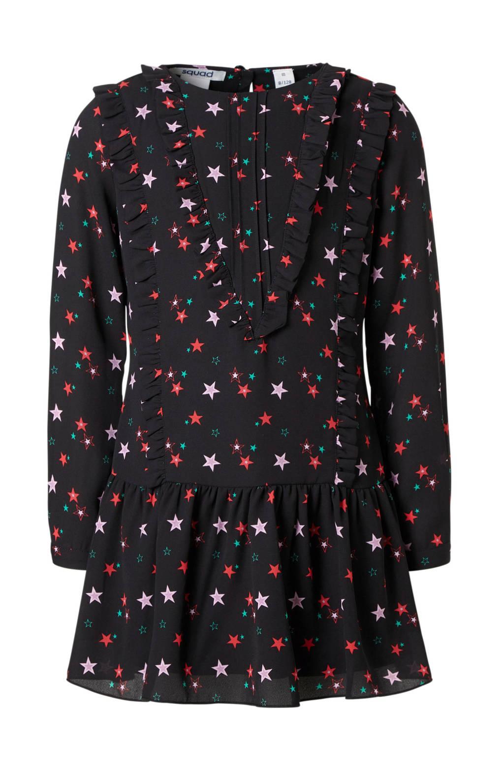 NIK&NIK jurk met volant en sterren zwart, Zwart/rood/lila