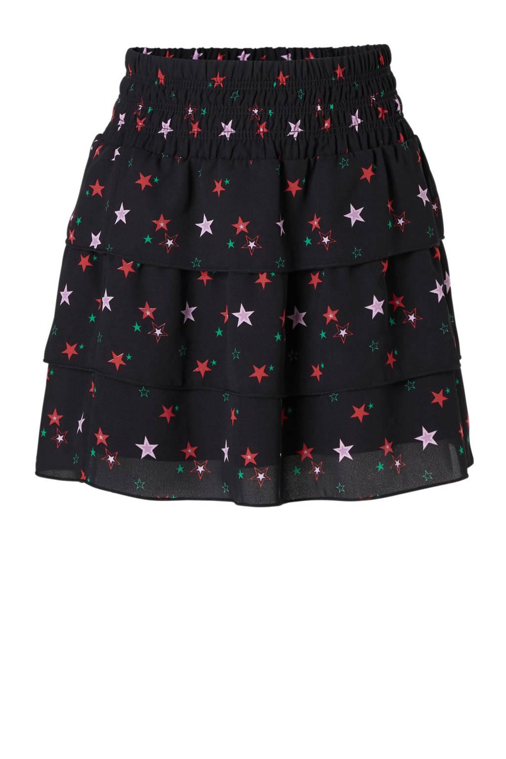 NIK&NIK strokenrok met sterren zwart, Zwart/rood/lila