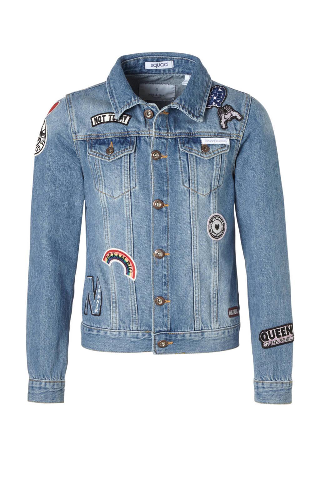 NIK&NIK spijkerjas met patches blauw, Blauw