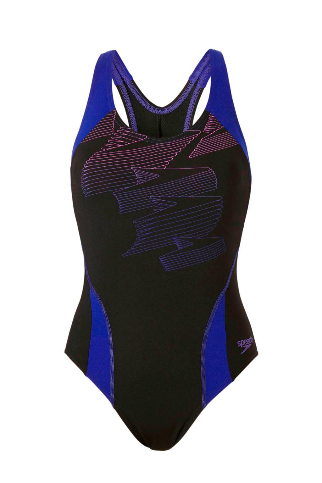 Speedo Endurance+ sportbadpak Boom Splice zwart/blauw, Zwart/blauw
