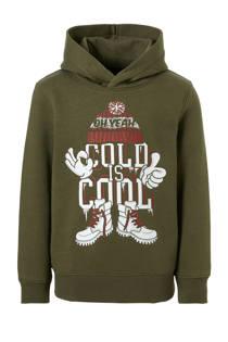 C&A Here & There hoodie met printopdruk kaki (jongens)