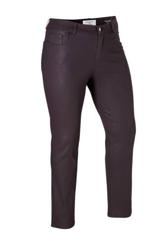 coated slim fit broek paars