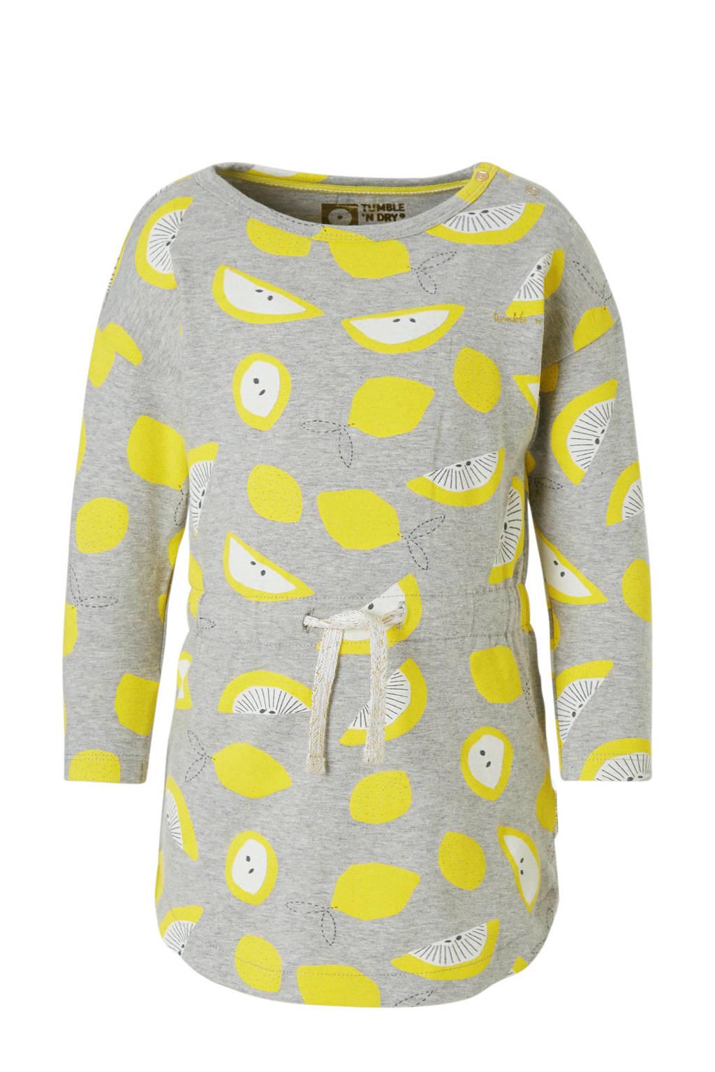 Tumble 'n Dry Lo jurk Elvis met citroenenprint, Lichtgrijs melange/ geel