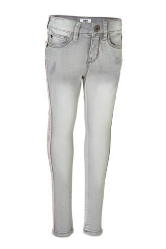 Mid extra skinny jeans Pearl met zijstreep grijs