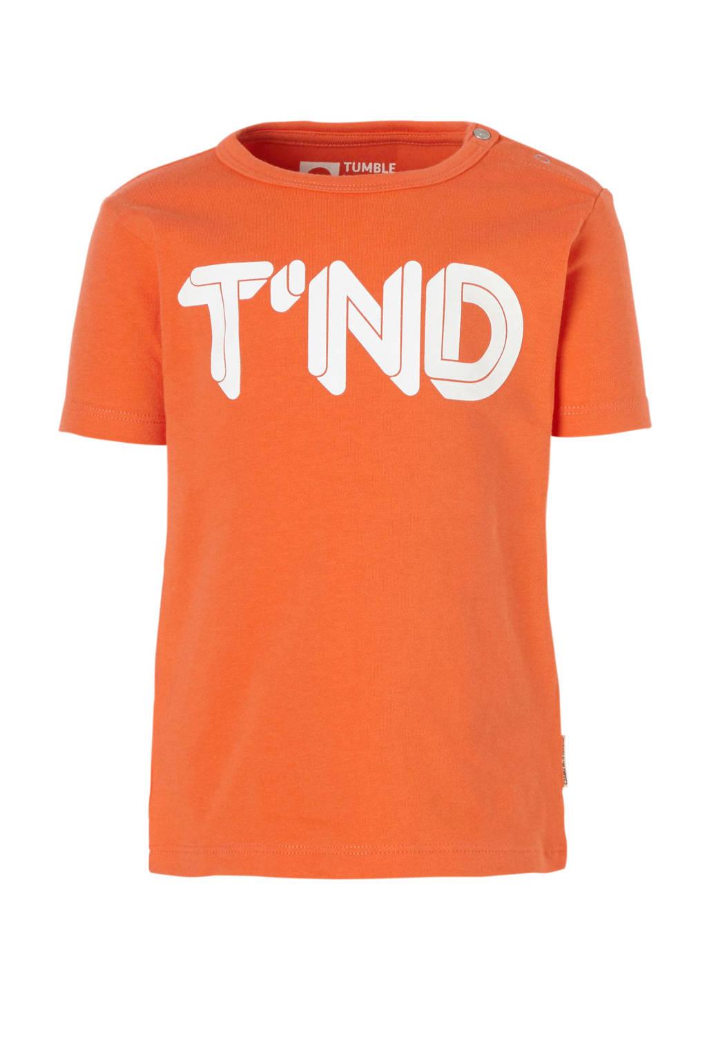 Tumble 'n Dry Lo baby T-shirt Aquapo met logo oranje, Oranje