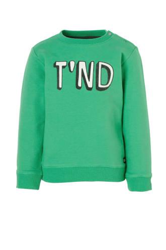 Lo sweater Azad met logo groen