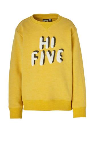Mid sweater Dexter met tekst geel