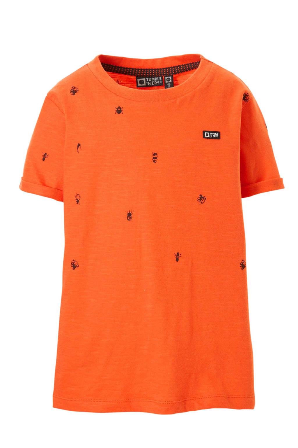 Tumble 'n Dry Mid T-shirt met dierenprint oranje, Oranje