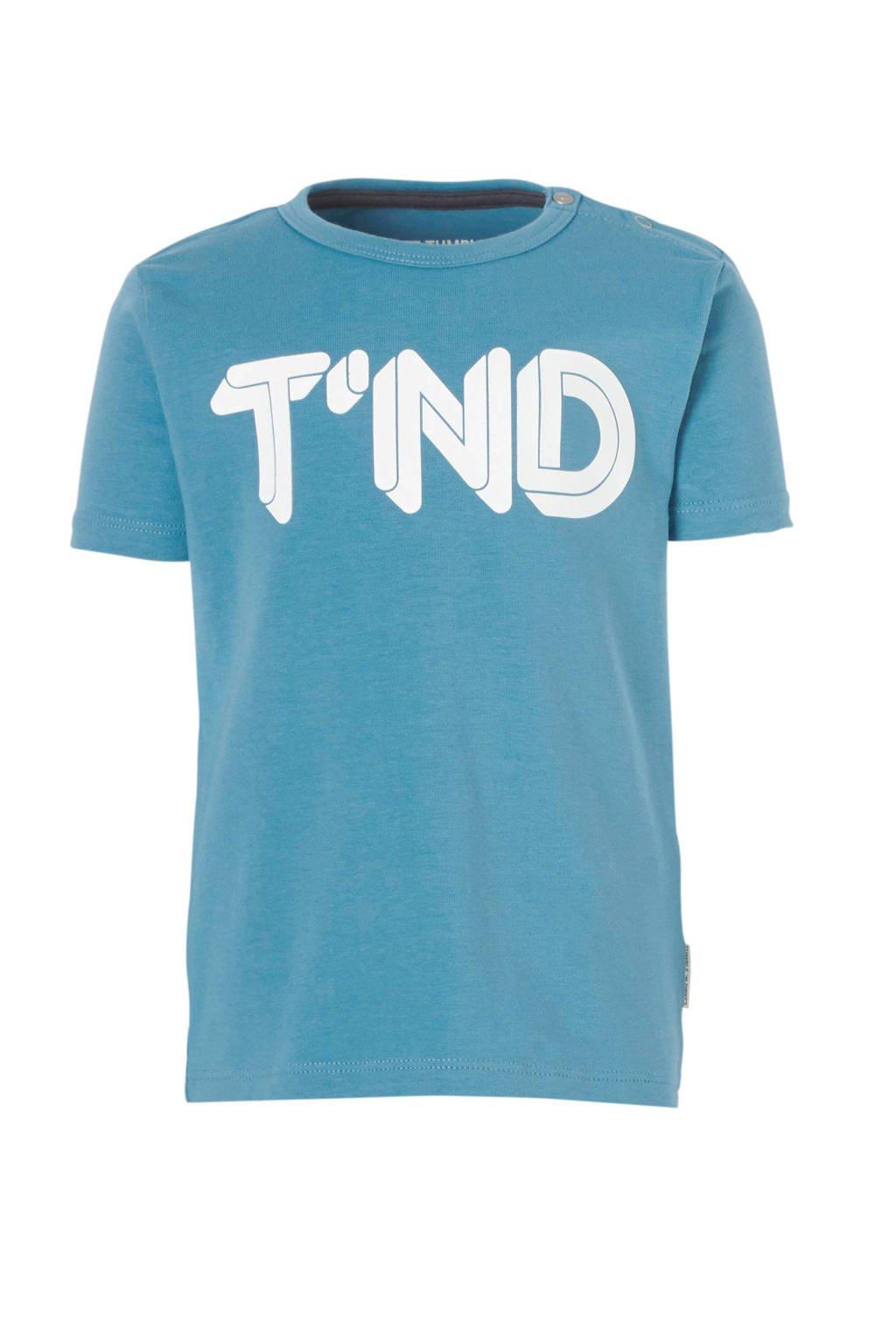 Tumble 'n Dry Lo baby T-shirt Aquapo met logo blauw, Blauw