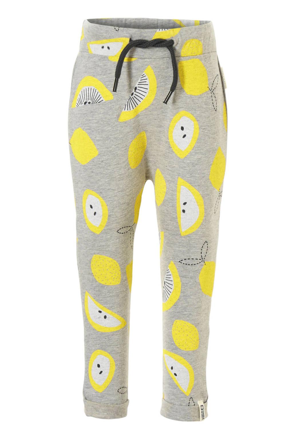 Tumble 'n Dry Lo broek met citroenprint Elfje, Licht grijs melange/ geel