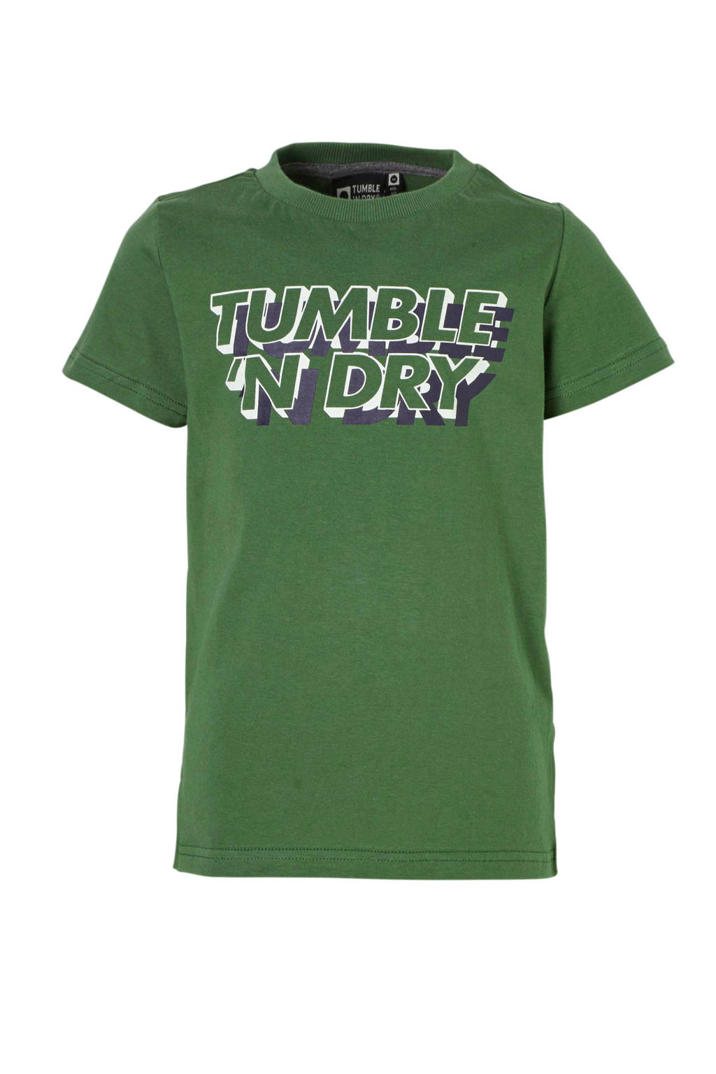 Tumble 'n Dry Mid T-shirt Fandor met logo groen, Mosgroen