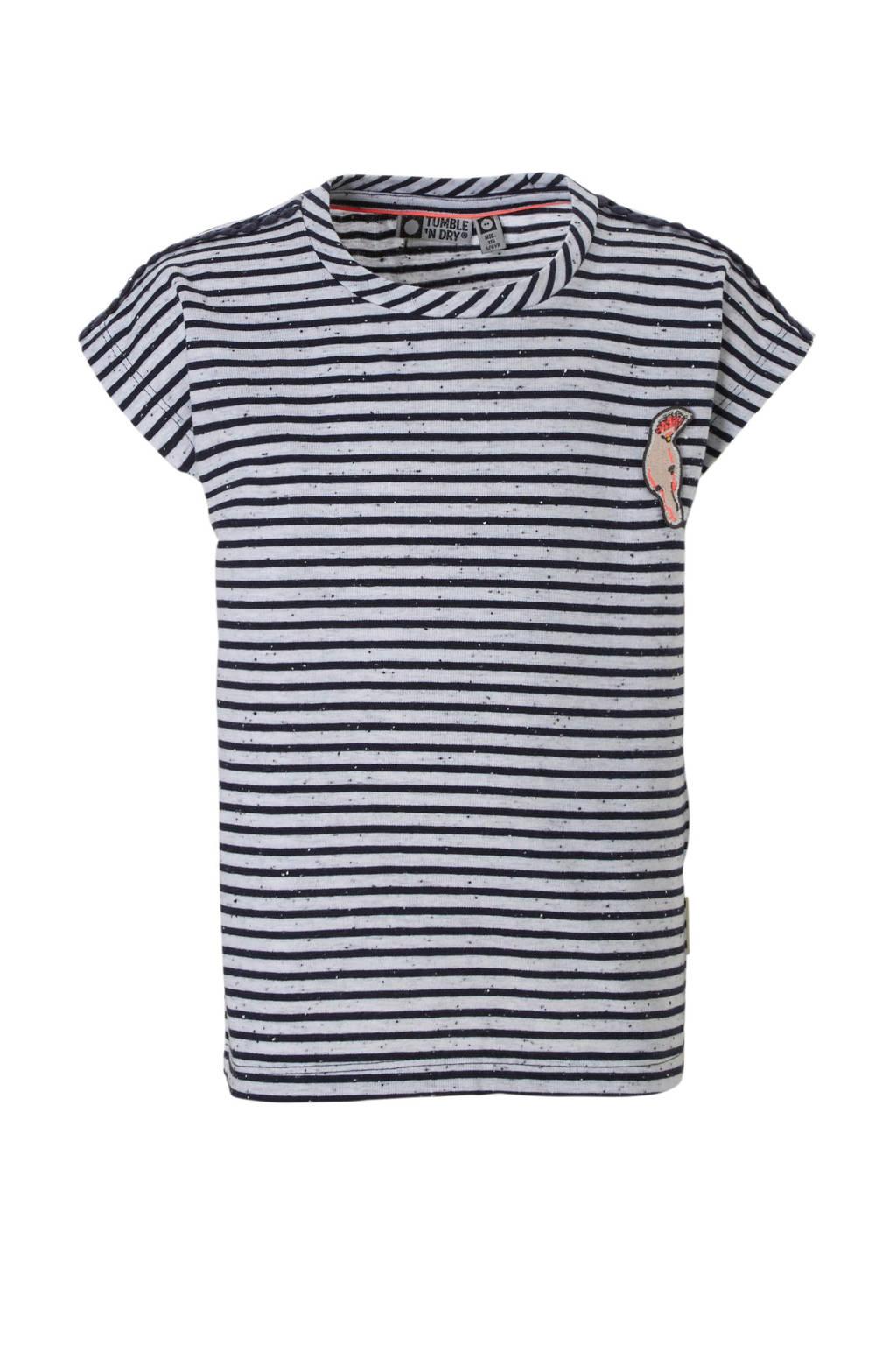 Tumble 'n Dry Mid gestreepte T-shirt grijs, Grijs/blauw