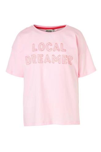 Hi T-shirt Belina met open schouders roze