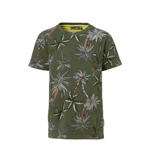 Tumble 'n Dry Mid T-shirt Denzerios met bladprint groen kopen