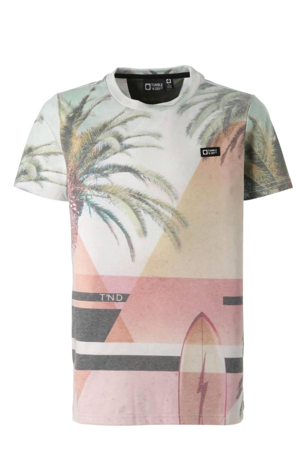 Tumble 'n Dry Hi T-shirt Fino met all over print, Geel/groen/roze