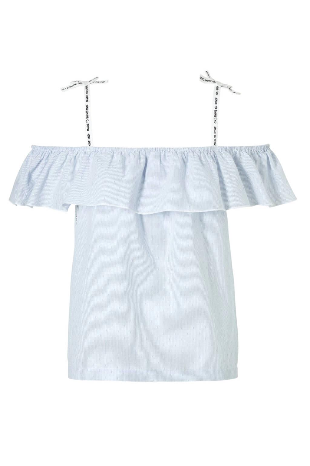 Tumble 'n Dry Hi gestreepte open shoulder top Belfi blauw, Blauw/wit