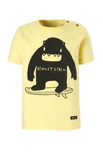 Lo T-shirt Adex met printopdruk geel