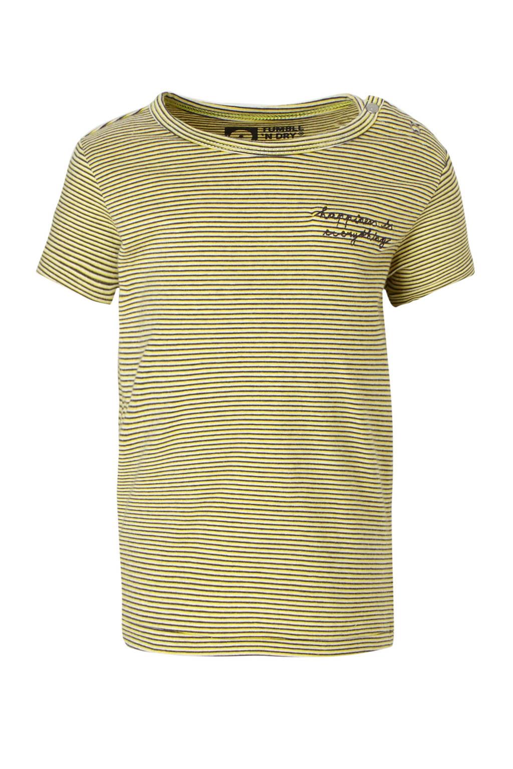 Tumble 'n Dry Lo gestreept T-shirt met tekst geel/grijs, Geel/grijs