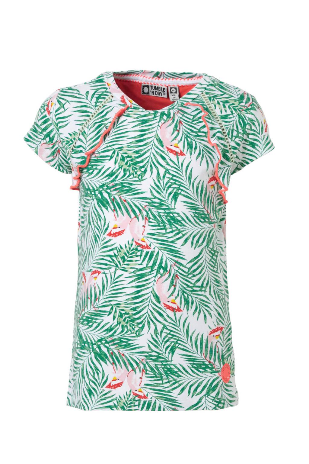 Tumble 'n Dry Mid T-shirt Cameron met bladprint wit, Wit/groen