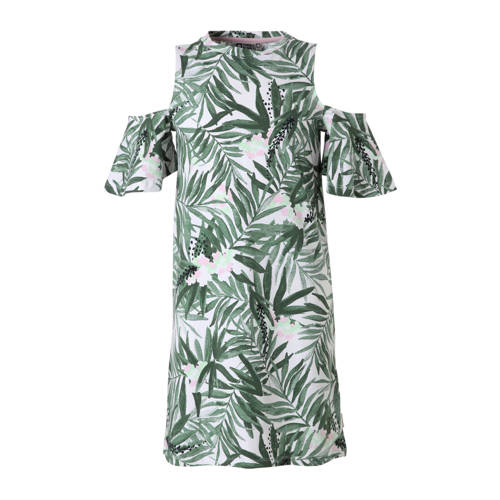 Tumble 'n Dry Hi open shoulder jurk Bice met bladprint groen kopen