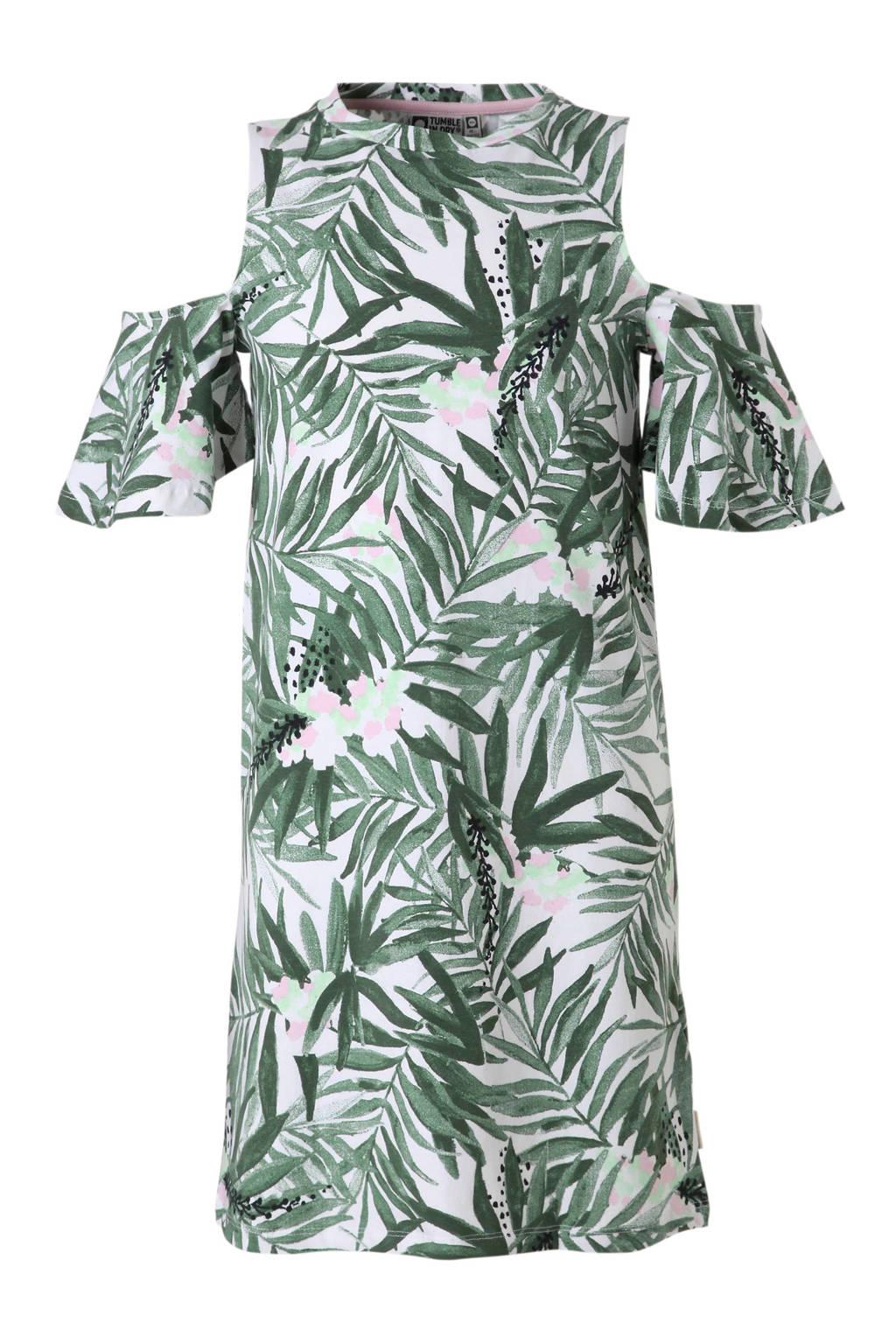 Tumble 'n Dry Hi open shoulder jurk Bice met bladprint groen, Groen/wit