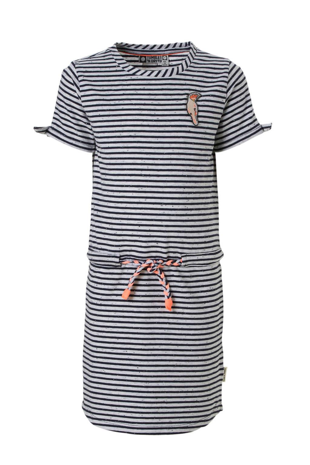 Tumble 'n Dry Mid gestreepte jurk grijs, Grijs/blauw/roze