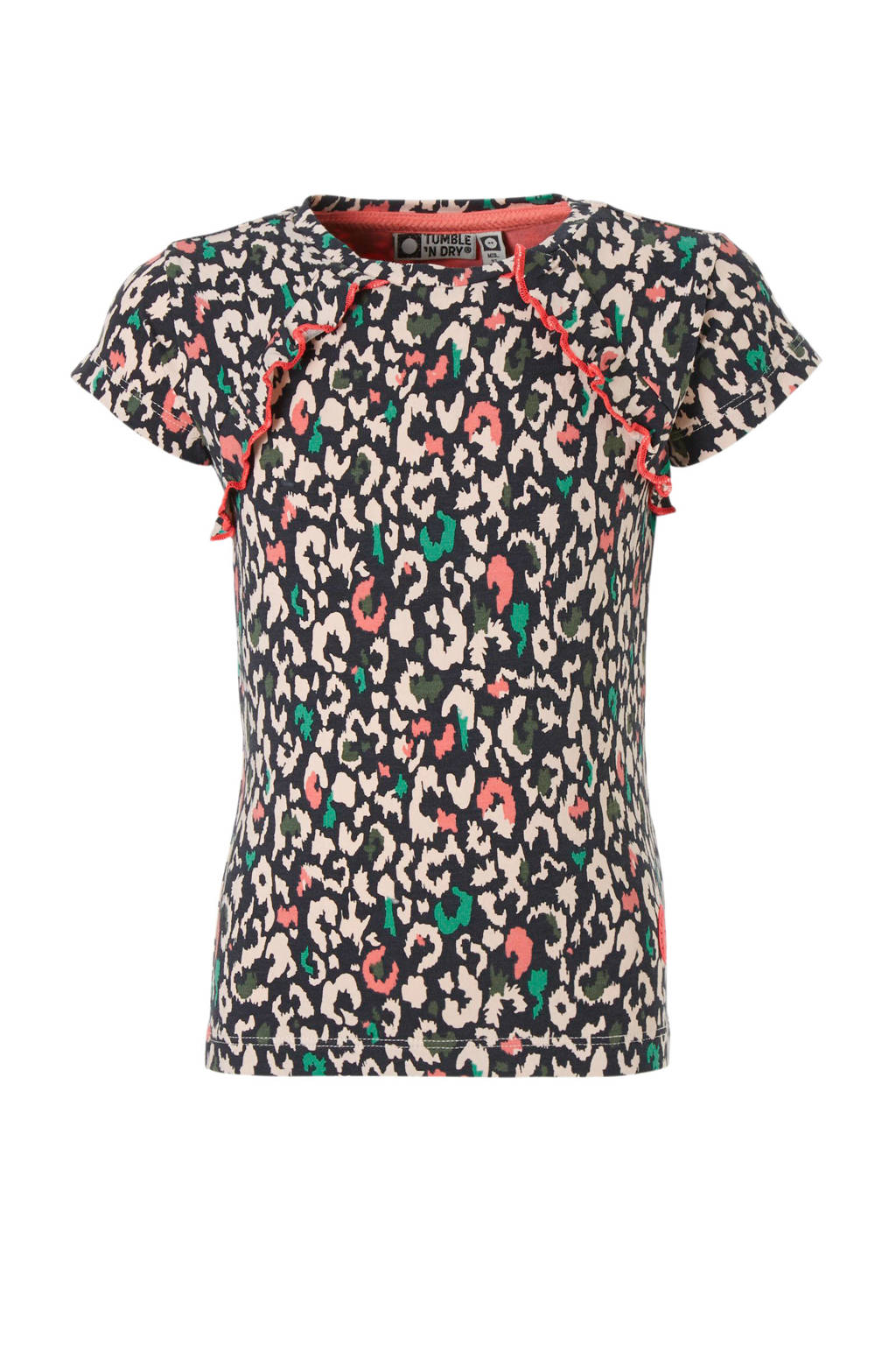Tumble 'n Dry Mid T-shirt Celpe met panterprint en ruches, Zalm/antraciet/groen