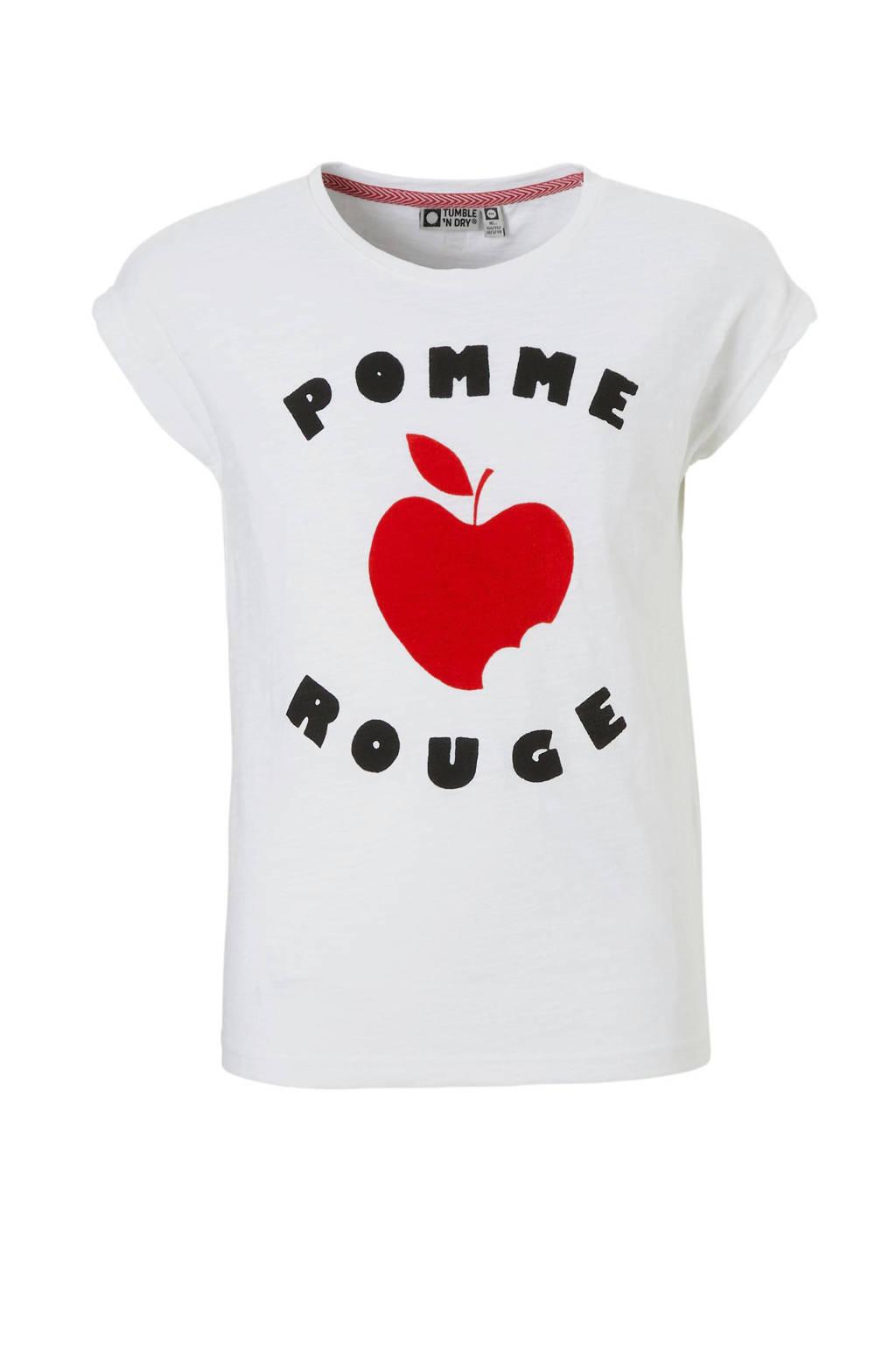 Tumble 'n Dry Hi T-shirt Baba met appel en tekst wit, Wit/zwart/rood