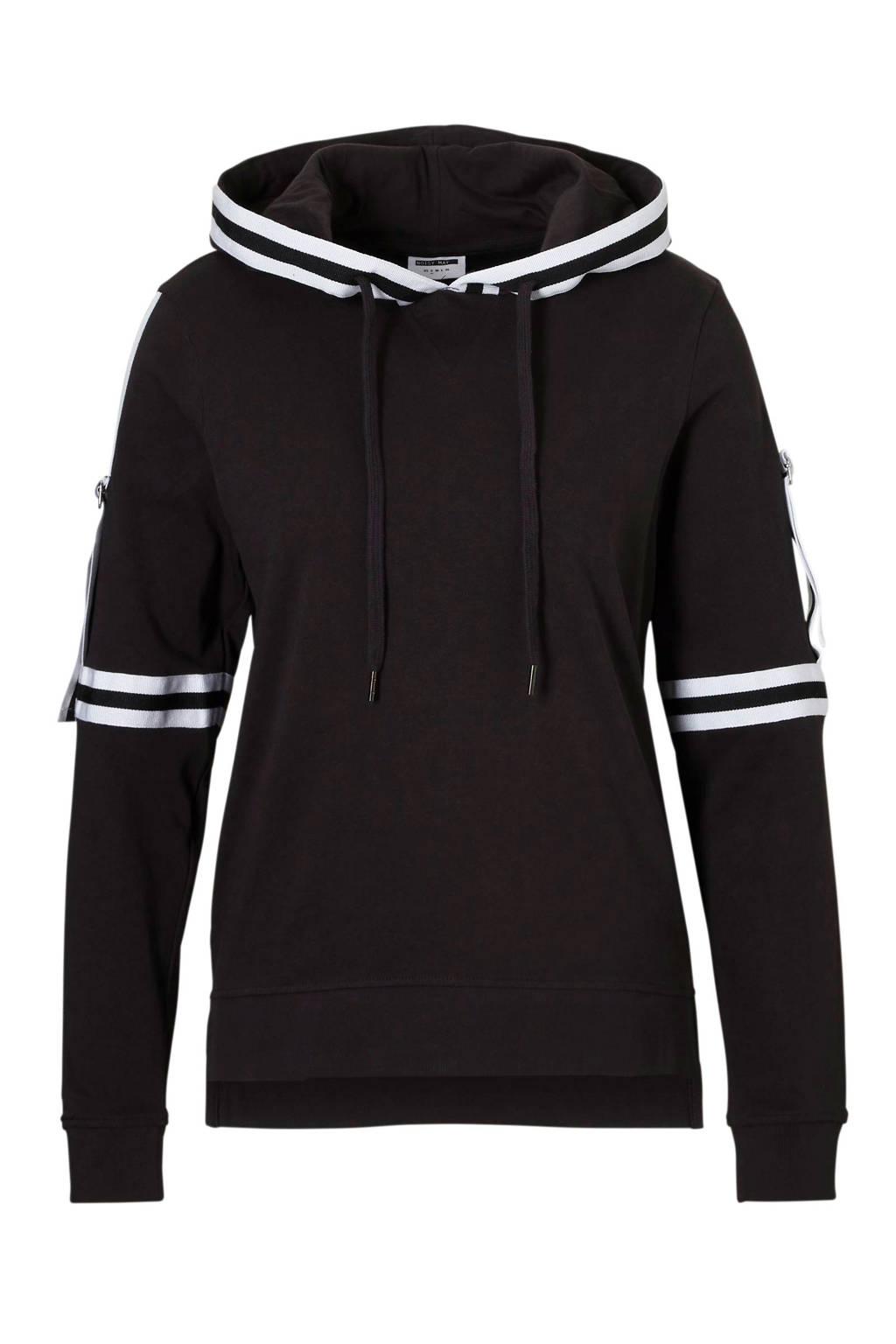 Noisy may hoodie met zij strepen, Zwart/wit