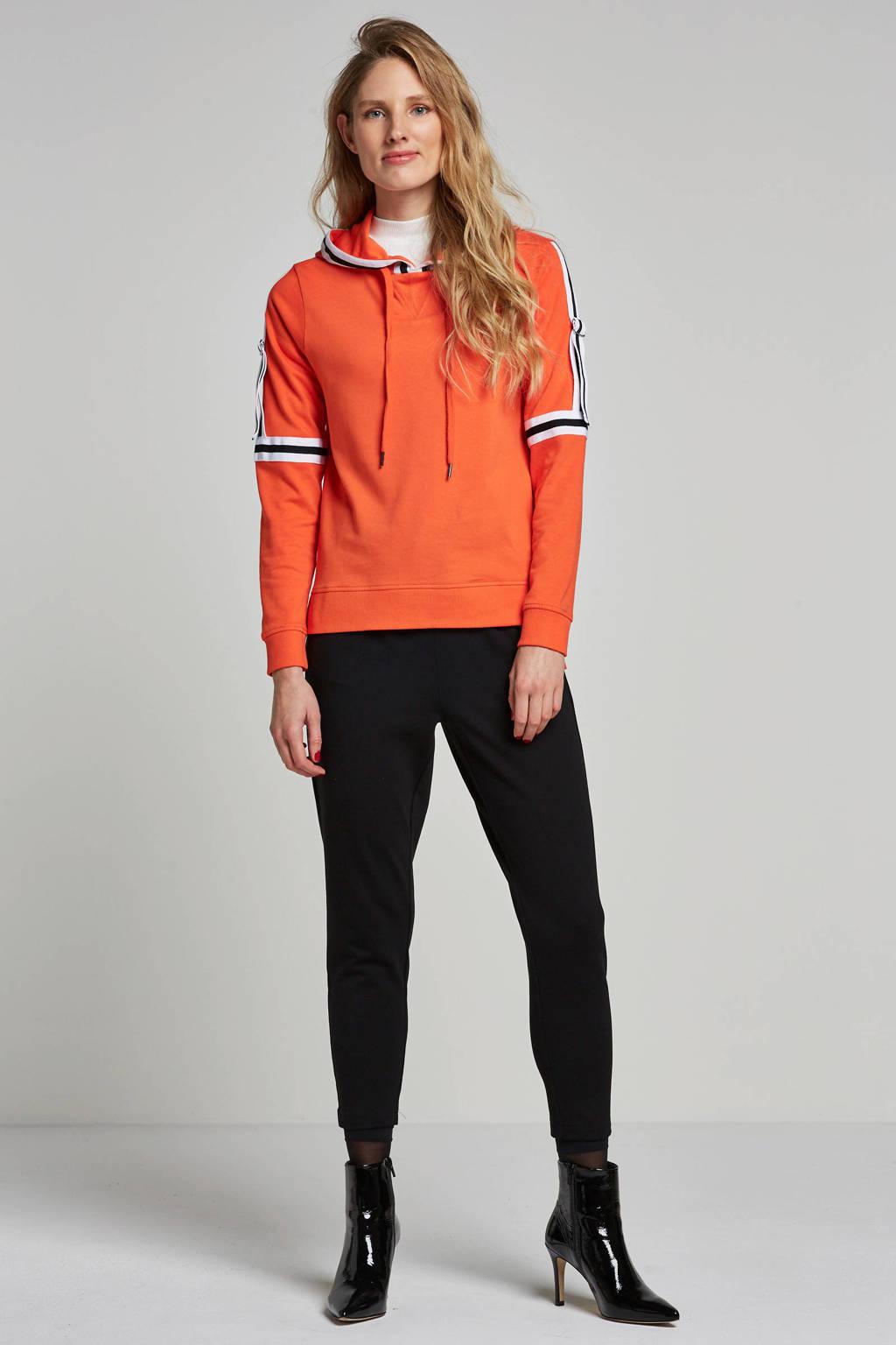 Noisy may hoodie met zij strepen, Rood/zwart/wit