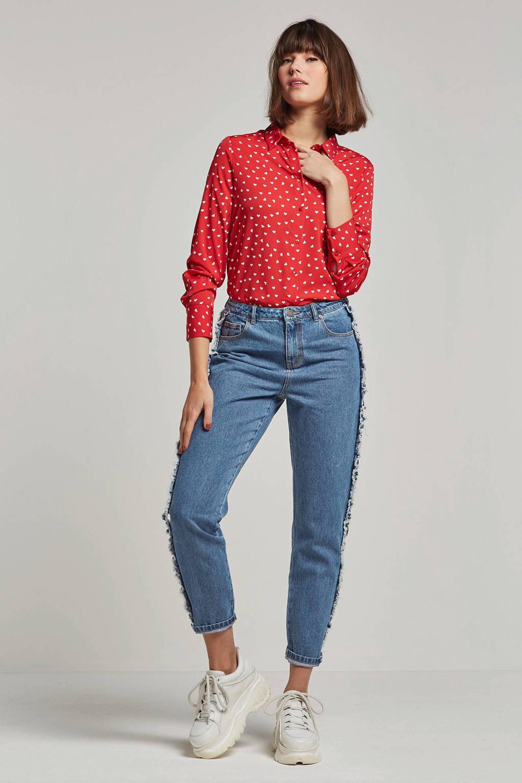 Noisy may jeans met gerafelde details, Blauw