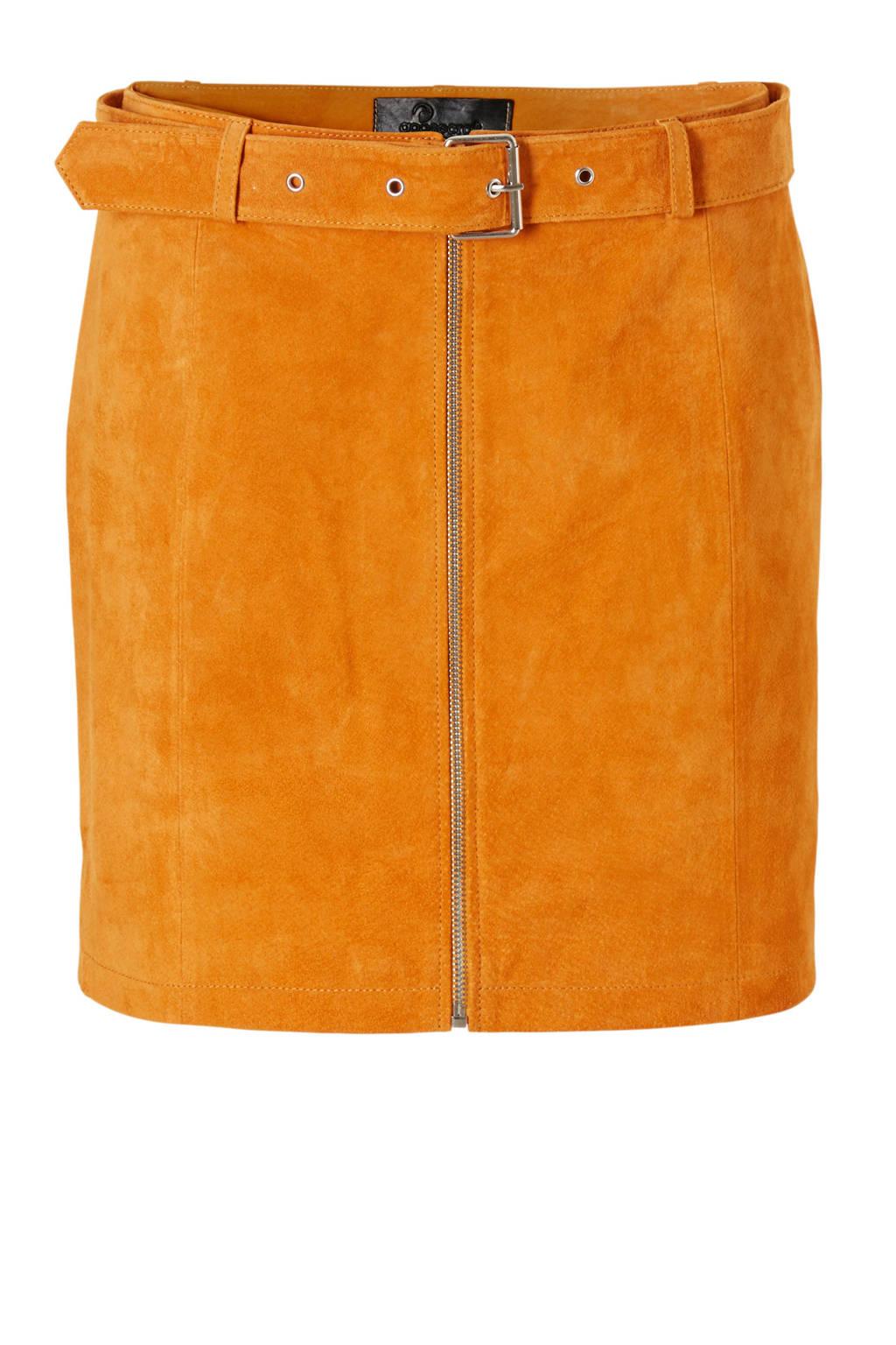 Goosecraft leren rok bruin, Oranje